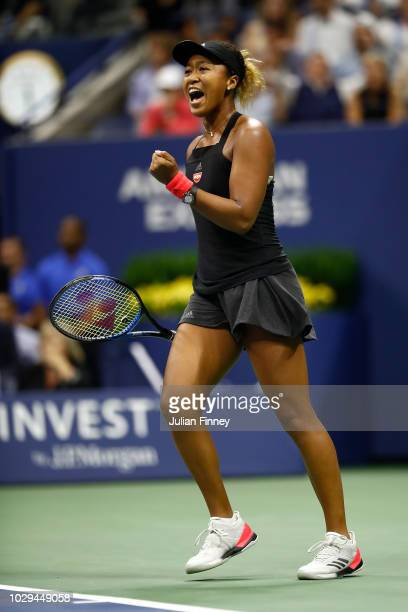 Naomi Osaka of Japan reacts during her Women's Singles finals match against Serena Williams of the United States on Day Thirteen of the 2018 US Open...