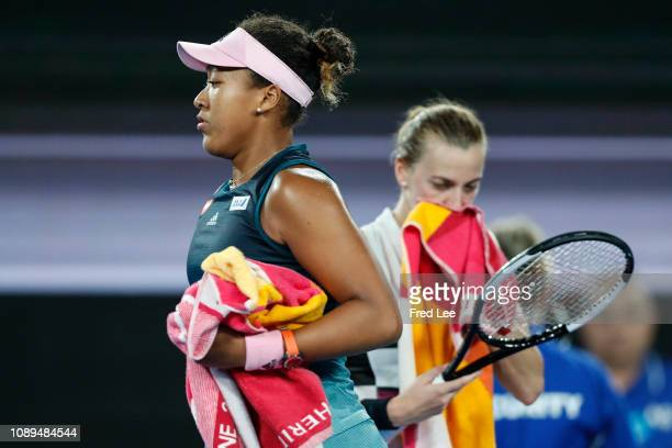 Naomi Osaka of Japan reacts in her Women's Singles Final match against Petra Kvitova of Czech Republic during day 13 of the 2019 Australian Open at...