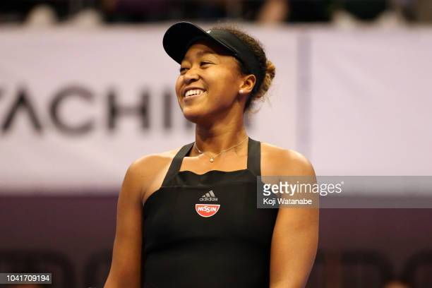 Naomi Osaka of Japan reacts in the Singles quarter final against Barbora Strycova of the Czech Republic on day five of the Toray Pan Pacific Open at...
