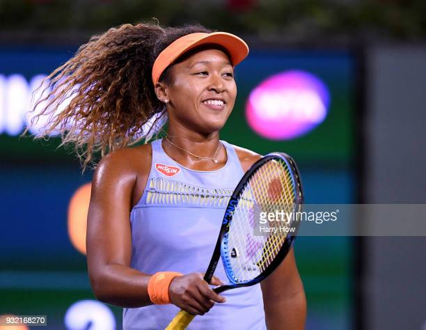 Naomi Osaka of Japan reacts to match point over Karolina Pliskova of the Czech Republic during the BNP Paribas Open at the Indian Wells Tennis Garden...