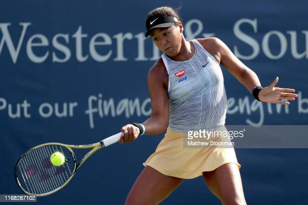 Naomi Osaka of Japan returns a shot to SuWei Hsieh of Taiwan during the Western Southern Open at Lindner Family Tennis Center on August 15 2019 in...