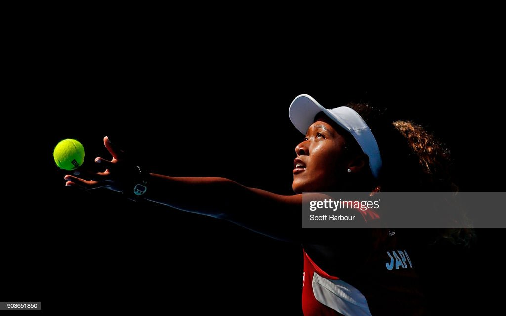 Naomi Osaka of Japan serves during a practice session ahead of the 2018 Australian Open at Melbourne Park on January 11, 2018 in Melbourne, Australia.