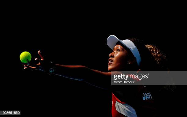 Naomi Osaka of Japan serves during a practice session ahead of the 2018 Australian Open at Melbourne Park on January 11 2018 in Melbourne Australia