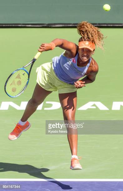 Naomi Osaka of Japan serves during her 63 62 win over Daria Kasatkina of Russia in the women's singles final of the BNP Paribas Open in Indian Wells...