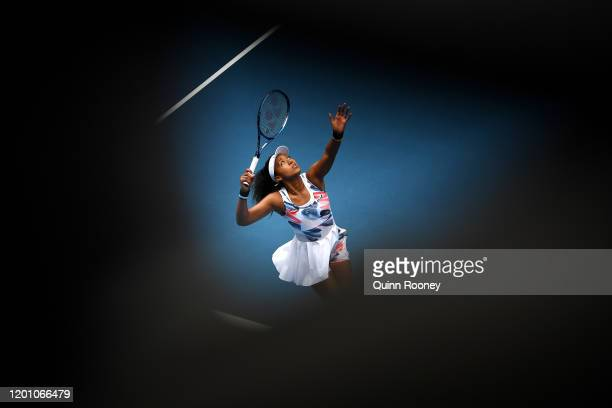 Naomi Osaka of Japan serves during her Women's Singles second round match against Saisai Zheng of China on day three of the 2020 Australian Open at...