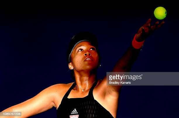 Naomi Osaka of Japan serves in her match against Anastasija Sevastova of Latvia during day five of the 2019 Brisbane International at Pat Rafter...
