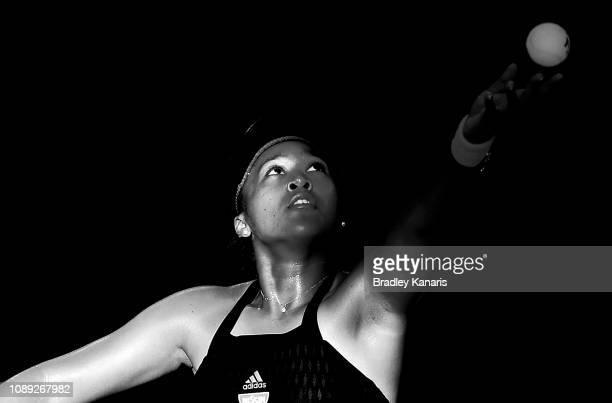 Naomi Osaka of Japan serves in her match against Anastasija Sevastova of Latvia during day five of the 2019 Brisbane International at Pat Rafter...
