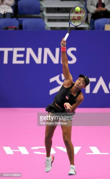 Naomi Osaka of Japan serves in the Singles final against Karolina Pliskova of the Czech Republic on day seven of the Toray Pan Pacific Open at Arena...