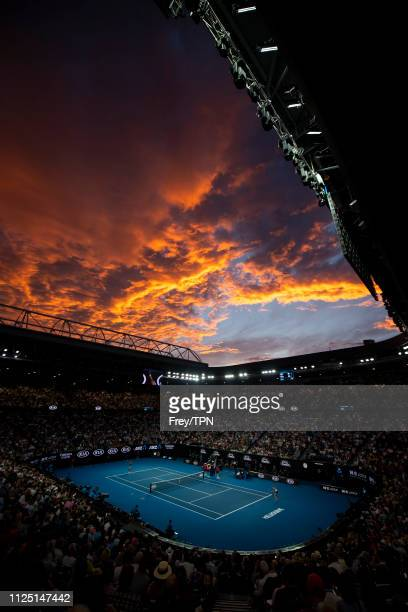 Naomi Osaka of Japan serves to Petra Kvitova of the Czech Republic in the women's singles final on day 13 of the 2019 Australian Open at Melbourne...