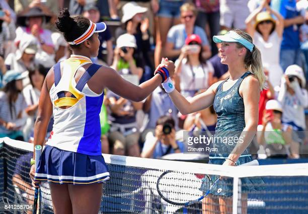 Naomi Osaka of Japan shakes hands after defeating Denisa Allertova of Czech Republic in their second round Women's Singles match on Day Four of the...