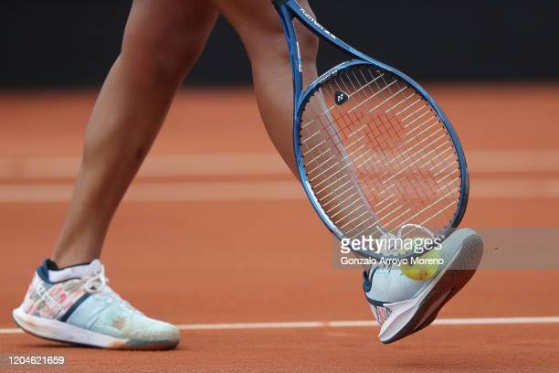 Naomi Osaka of Japan shakes her racket during her match against Sara Sorribes Tormo of Spain during the Fed Cup BNP Paribas World Cup qualifiers...