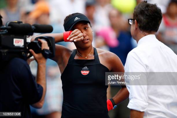 Naomi Osaka of Japan shows her emotions following victory in the women's singles fourth round match against Aryna Sabalenka of Belarus on Day Eight...