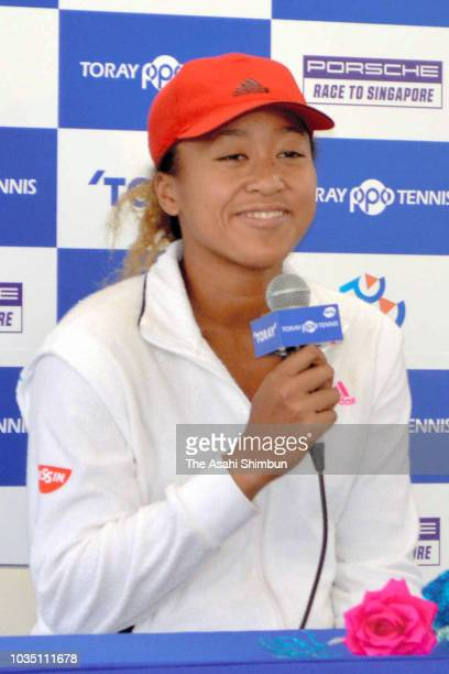 Naomi Osaka of Japan speaks during a press conference on day one of the Toray Pan Pacific Open at Arena Tachikawa Tachihi on September 17 2018 in...
