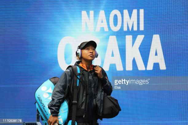 Naomi Osaka of Japan walks out on to court prior to her during her Women's Singles first round match against Anna Blinkova of Russia on day two of...