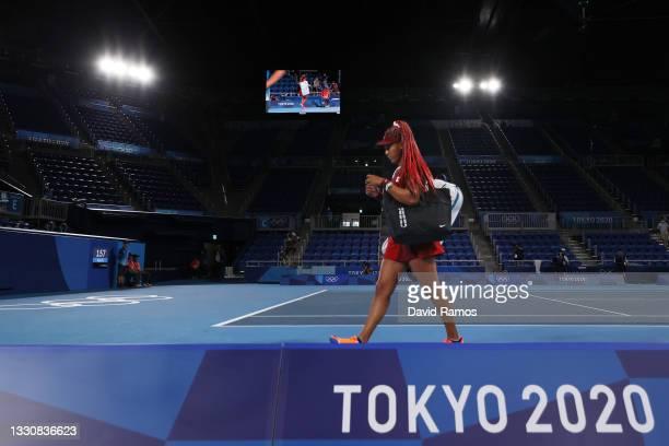 Naomi Osaka of Team Japan leaves the court after defeat in her Women's Singles Third Round match against Marketa Vondrousova of Team Czech Republic...