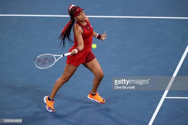 Naomi Osaka of Team Japan plays a forehand during her Women's Singles Third Round match against Marketa Vondrousova of Team Czech Republic on day...