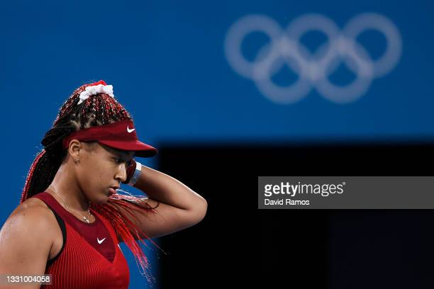 Naomi Osaka of Team Japan reacts after a point during her Women's Singles Third Round match against Marketa Vondrousova of Team Czech Republic on day...