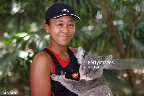 Naomi Osaka poses with Sprocket the Koala ahead of the 2019 Brisbane International at Lone Pine Koala Sanctuary on December 27 2018 in Brisbane...