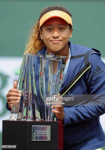 Naomi Osaka with the winners trophy after defeating Daria Kasatkina to become the 2018 BNP Paribas Open Champion after a finals match played March 18...