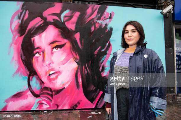 Naomi Parry attends a mural unveiling to mark the Design Museum's Amy Winehouse exhibition announcement in Camden on September 14, 2021 in London,...