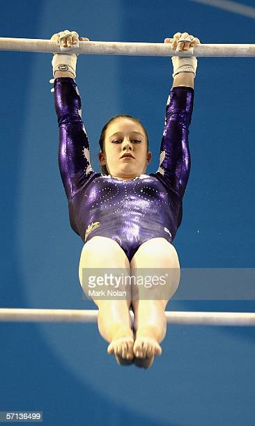 Naomi Russell of Australia in action during the Artistic Gymnastics Women's Uneven Bars competition at the Rod Laver Arena during day five of the...