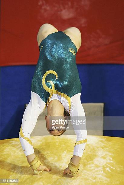 Naomi Russell of Australia in action on the vault during the Womens Artistic Gymnastics at the Rod Laver Arena during day two of the Melbourne 2006...