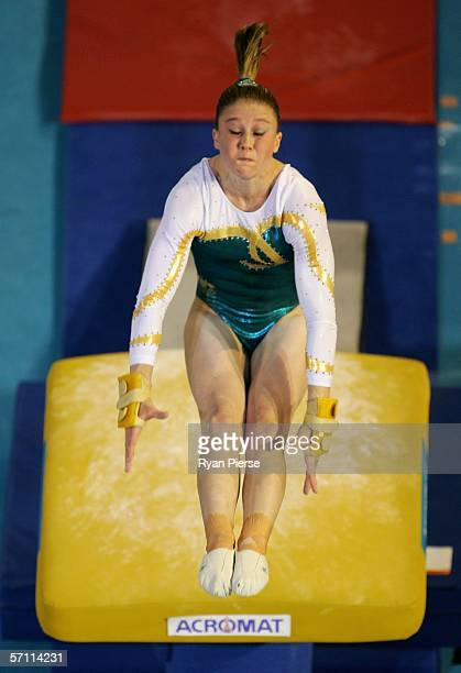 Naomi Russell of Australia performs on the Valut during the Womens Team competition in the Artistic Gymnastics at the Rod Laver Arena during day two...