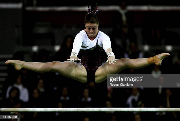 Naomi Russell of Queensland competes on the uneven bars during day one of the Australian gymnastics Olympic selection trials at the Vodafone Arena on...