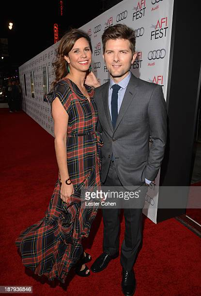 Naomi Sablan and actor Adam Scott attend the premiere of The Secret Life of Walter Mitty during AFI FEST 2013 presented by Audi at TCL Chinese...