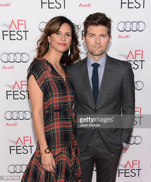 Naomi Sablan and Adam Scott attend the AFI FEST 2013 Presented By Audi Premiere Of The Secret Life of Walter Mitty at TCL Chinese Theatre on November...