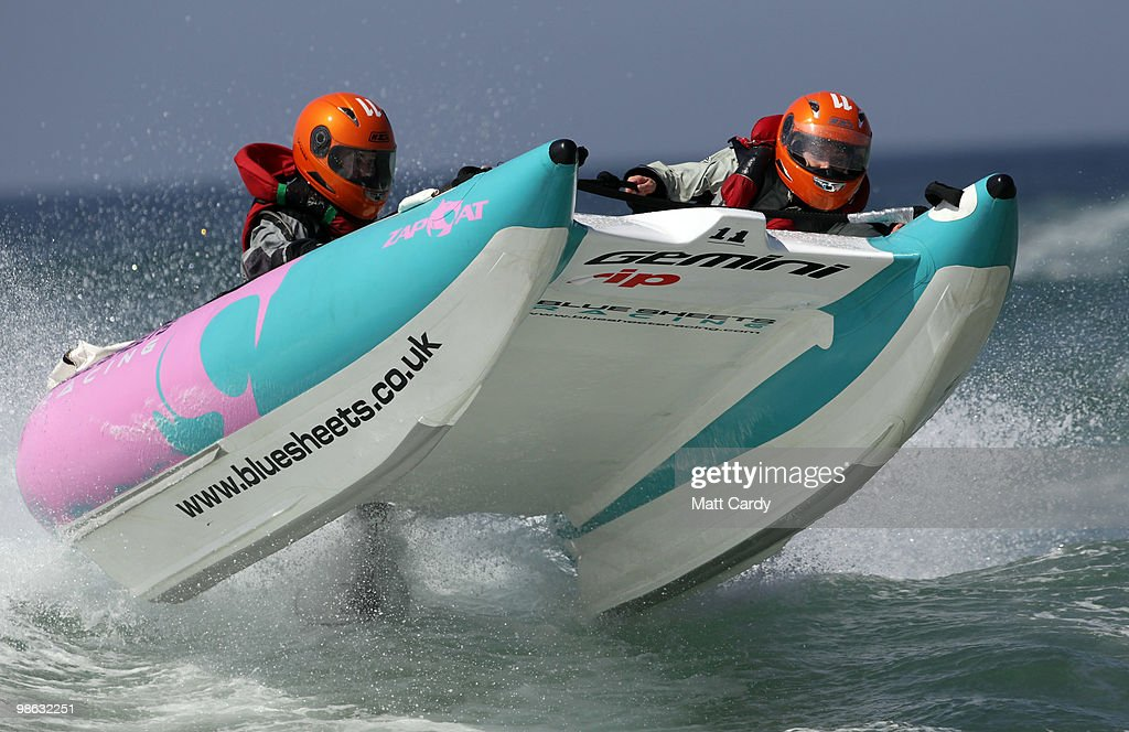 Naomi Sareth Wood pilots a Zapcat power boat in a practice run in the surf at Fistral Beach on April 23, 2010 in Newquay, England. Cornwall's Newquay is this weekend playing host to the Blue Chip Zapcat Grand Prix where small inflatable catamaran powerboats built for speed with 50hp engines, will battle it out in the national championship.
