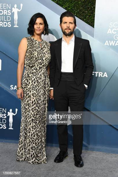 Naomi Scott and Adam Scott attend the 26th Annual Screen Actors Guild Awards at The Shrine Auditorium on January 19, 2020 in Los Angeles, California.