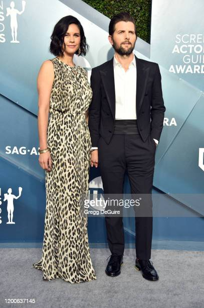 Naomi Scott and Adam Scott attend the 26th Annual Screen Actors Guild Awards at The Shrine Auditorium on January 19, 2020 in Los Angeles, California....