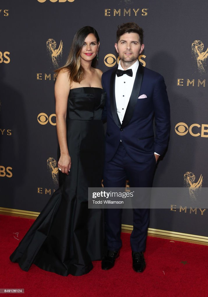 Naomi Scott and Adam Scott attend the 69th Annual Primetime Emmy Awards at Microsoft Theater on September 17, 2017 in Los Angeles, California.