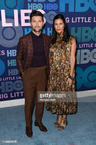 "Naomi Scott and Adam Scott attend the season 2 premiere of ""Big Little Lies"" at Jazz at Lincoln Center on May 29, 2019 in New York City."