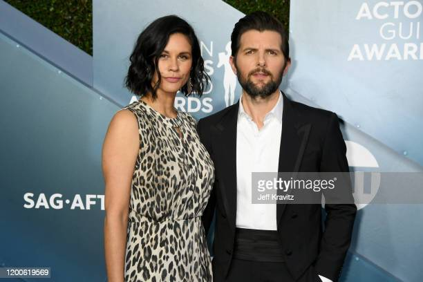 Naomi Scott and Adam Scott attends the 26th Annual Screen Actors Guild Awards at The Shrine Auditorium on January 19, 2020 in Los Angeles, California.