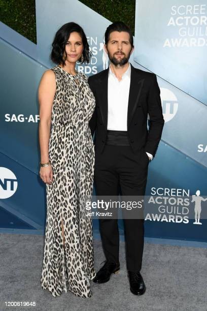 Naomi Scott and Adam Scott attends the 26th Annual Screen Actors Guild Awards at The Shrine Auditorium on January 19 2020 in Los Angeles California