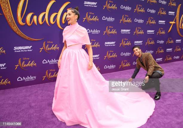 """Naomi Scott and Mena Massoud attend the World Premiere of Disney's """"Aladdin"""" at the El Capitan Theater in Hollywood CA on May 21 in the culmination..."""