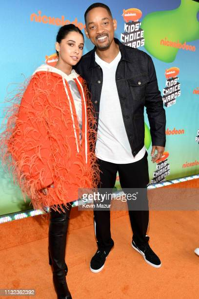 Naomi Scott and Will Smith attend Nickelodeon's 2019 Kids' Choice Awards at Galen Center on March 23 2019 in Los Angeles California