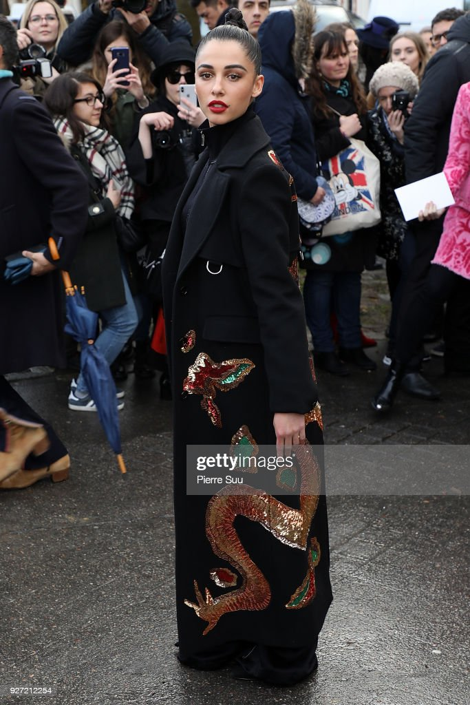 Naomi Scott arrives at the Valentino show as part of the Paris Fashion Week Womenswear Fall/Winter 2018/2019 on March 4, 2018 in Paris, France.