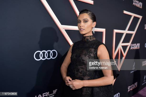 """Naomi Scott attends Audi Arrivals At The World Premiere Of """"Charlie's Angels"""" on November 11, 2019 in Los Angeles, California."""