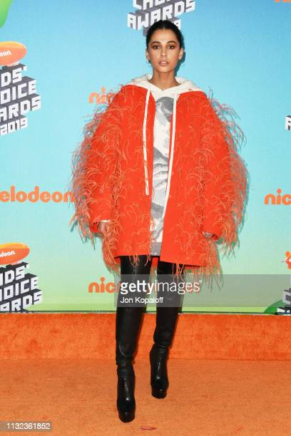 Naomi Scott attends Nickelodeon's 2019 Kids' Choice Awards at Galen Center on March 23 2019 in Los Angeles California