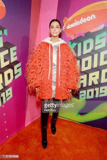 Naomi Scott attends Nickelodeon's 2019 Kids' Choice Awards at Galen Center on March 23, 2019 in Los Angeles, California.