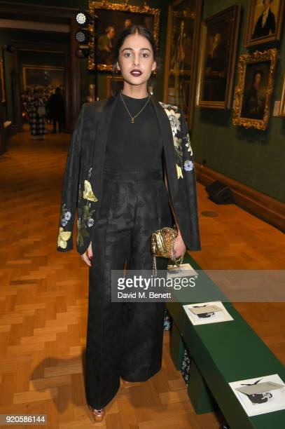 Naomi Scott attends the Erdem show during London Fashion Week February 2018 at National Portrait Gallery on February 19 2018 in London England