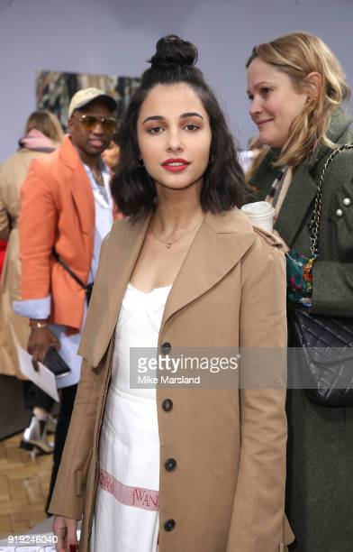 Naomi Scott attends the JW Anderson show during London Fashion Week February 2018 at on February 17, 2018 in London, England.