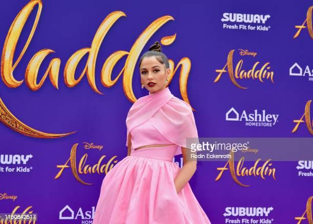 "Naomi Scott attends the premiere of Disney's ""Aladdin"" at El Capitan Theatre on May 21, 2019 in Los Angeles, California."