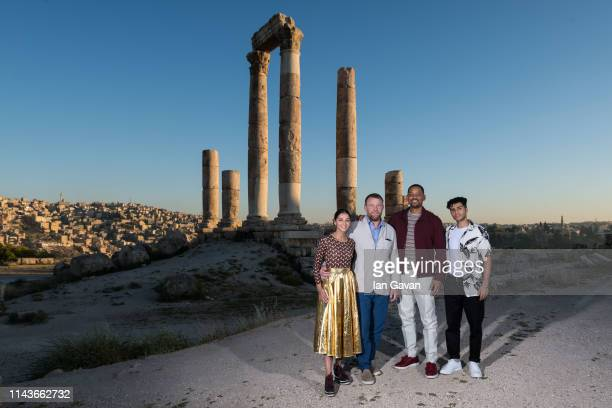 Naomi Scott Director Guy Ritchie Will Smith and Mena Massoud attend a photocall at the Citadel as part of the Aladdin Magic Carpet World Tour on May...