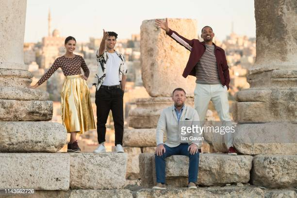 Naomi Scott Mena Massoud Director Guy Ritchie and Will Smith attend a photocall at the Citadel as part of the Aladdin Magic Carpet World Tour on May...