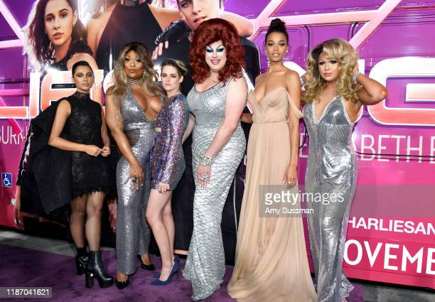 """Naomi Scott, Peppermint, Kristen Stewart, Nina West, Ella Balinska, and Farrah Moan attend the premiere of Columbia Pictures' """"Charlie's Angels"""" at..."""