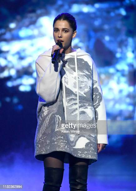 Naomi Scott speaks onstage at Nickelodeon's 2019 Kids' Choice Awards at Galen Center on March 23, 2019 in Los Angeles, California.